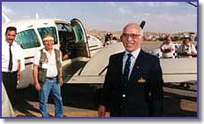 HRM King Hussein with Peace Flight pilots in Amman