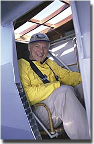 Photo of Barry in EAA's replica of the Spirit of St. Louis